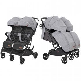 Детская прогулочная коляска Carrello Presto (Каррелло Престо) Duo CRL-5506 Pitch Grey, для двойни (6900090000277) Цвет Серый