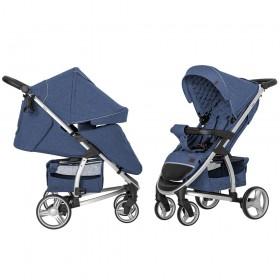 Детская прогулочная коляска Carrello Vista (Каррелло Виста) CRL-8505 Denim Blue в льне с дождевиком L (6900085000787) Цвет Синий