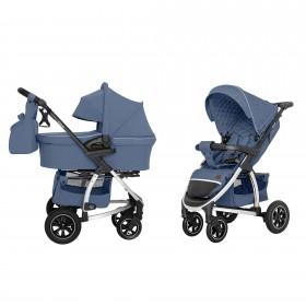 Детская универсальная коляска 2 в 1 Carrello Vista (Каррелло Виста) CRL-6506 (2in1) Denim Blue в льне (6900085002651) Цвет Синий