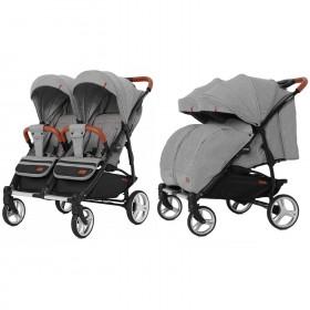 Детская прогулочная коляска Carrello Connect (Каррелло Конект) CRL-5502 Ink Gray для двойни, в льне с дождевиком Цвет Серый