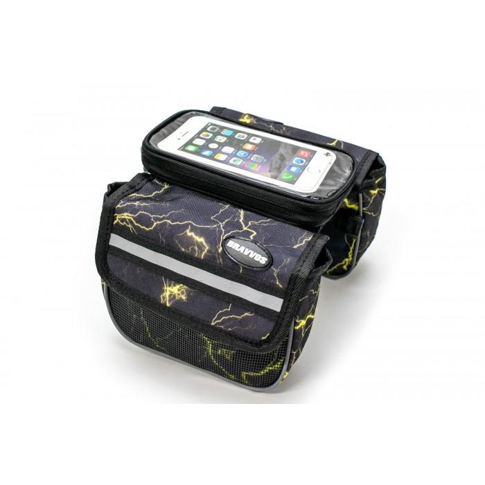 Велосумка на раму, с отделением под смартфон черный с желтым BRAVVOS QL-012 (BIB-016)